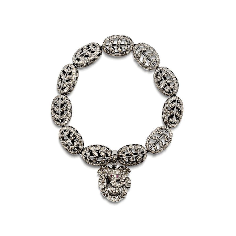 Diamond Pave Bead Ganesh Bracelet